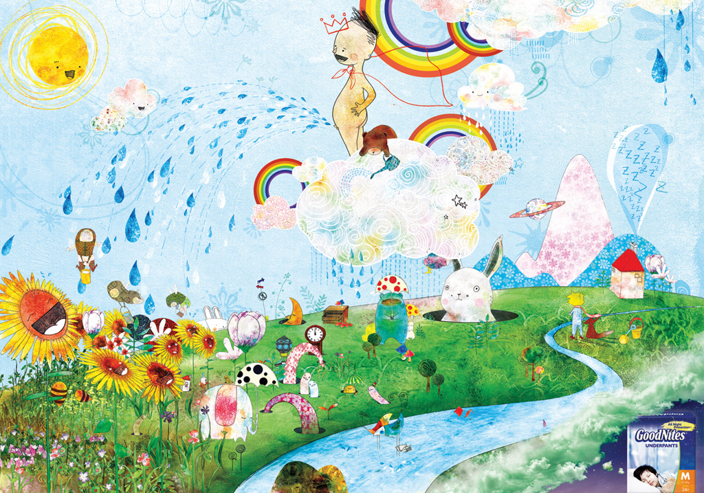 Illustrazione onirica per i pannolini GoodNites. Campagna firmata da Diamon Ogilvy Seoul, 2009.